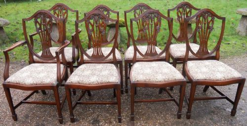 Set of Eight Shieldback Mahogany Dining Chairs
